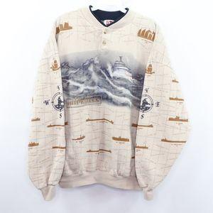 90s Mens Large Great Lakes Shipwrecks Sweatshirt